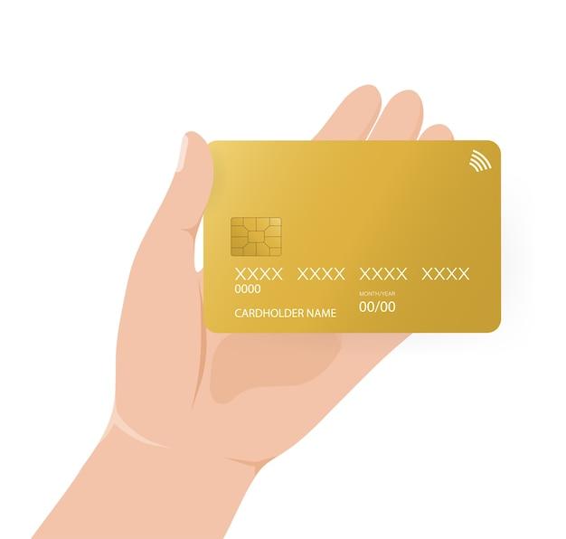 Karta kredytowa z ręką, idealna do wszelkich celów. ilustracja karty bankowej. płatność online.