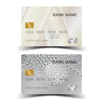 Karta kredytowa ze srebrnymi elementami projektu i inspiracją z abstrakcji