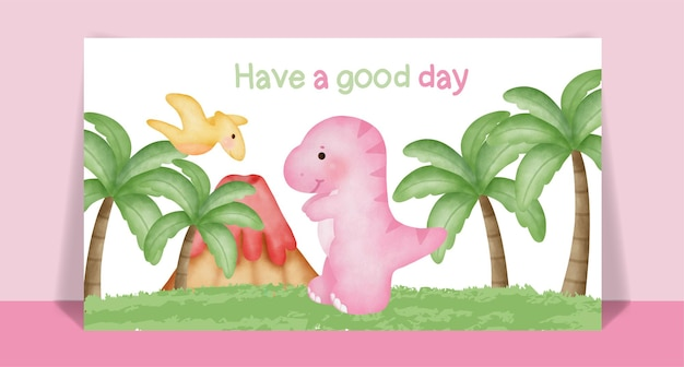 Karta kreskówka akwarela ładny dinozaur.
