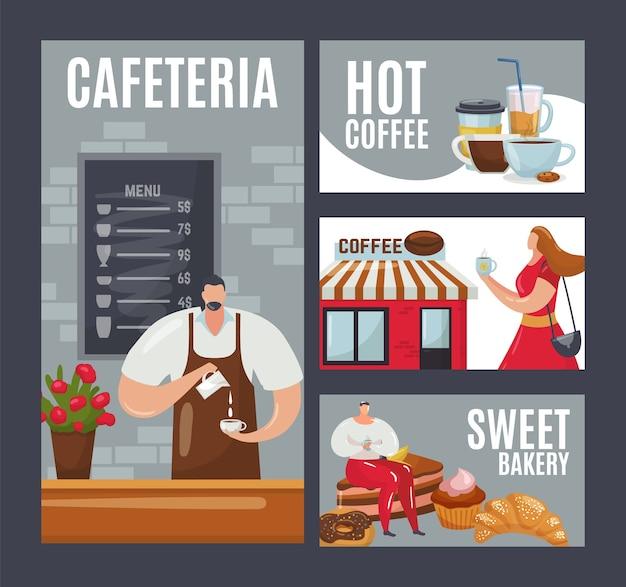 Karta kreskówka cafe,. mężczyzna kobieta ludzie piją kawę, napój w zestawie filiżanek.