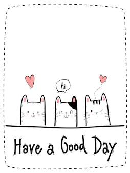 Karta kreskówka doodle ładny kot