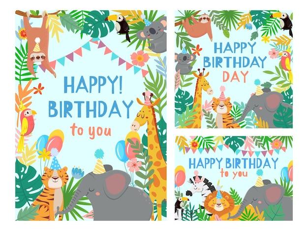 Karta kreskówka szczęśliwy urodziny zwierząt. karty gratulacyjne z uroczą imprezą safari lub dżungli w zestawie ilustracji tropikalnego lasu.