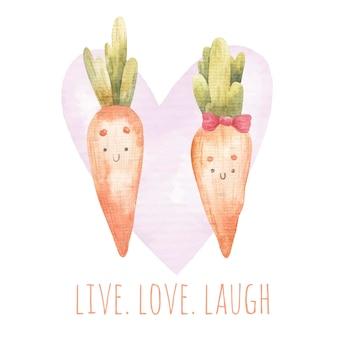 Karta kreskówka, zakochane marchewki, chłopiec i dziewczynka