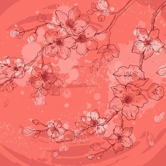 Karta kwiat kwiaty sakura