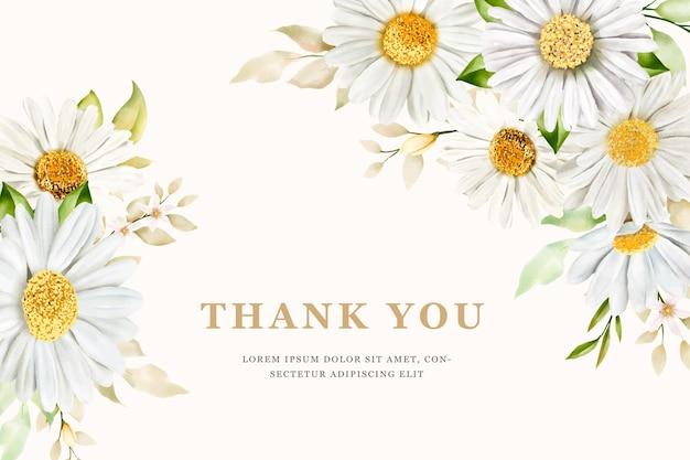 Karta kwiat lato akwarela chryzantemy