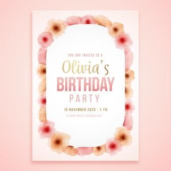 Karta kwiatowa na przyjęcie urodzinowe olivii