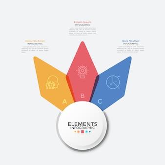 Karta kwiatowa z trzema kolorowymi, przezroczystymi płatkami. szablon projektu czysty plansza. koncepcja 3 opcji biznesowych do wyboru. nowoczesna ilustracja wektorowa do prezentacji, baneru, broszury.