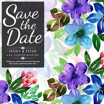 Karta kwiatowy akwarela akwarela zaproszenie