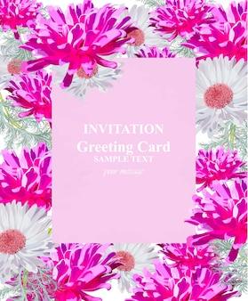 Karta kwiatowy akwarela wektor zaproszenie. vintage kolorowe piękne kwiaty bukiet i koronki