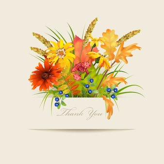 """Karta kwiatowy """"dziękuję"""" z różnymi kwiatami i papierowym banerem"""