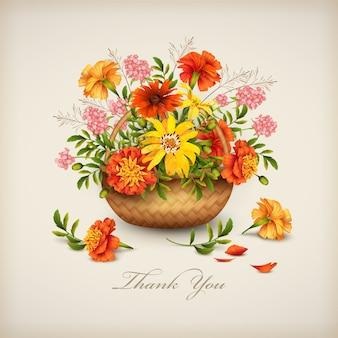 Karta kwiatowy dziękuję