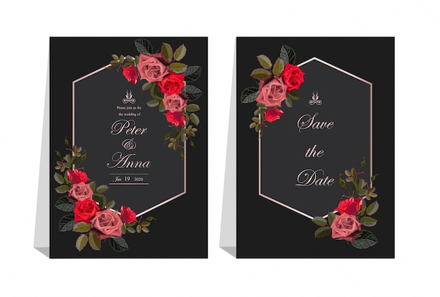 Karta kwiatowy na zaproszenia ślubne i kartki z życzeniami
