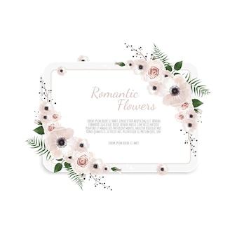 Karta kwiatowy. powitanie, pocztówka ślub zaprasza szablon.