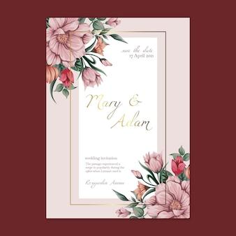 Karta kwiatowy ślub szablon