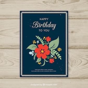 Karta kwiatowy urodziny szablon