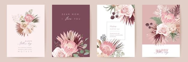 Karta kwiatowy wektor dzień matki. powitanie kwiaty protea, projekt szablonu liści palmowych. akwarela pocztówka minimalny zestaw. rama z trawy pampasowej. wiosenny kwiat zapraszam typografię. kobieta nowoczesna broszura