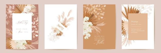Karta kwiatowy wektor dzień matki. powitanie tropikalnych kwiatów, liści palmowych szablon projektu. akwarela pocztówka minimalny zestaw. rama sucha trawa pampasowa. kwiat orchidei zaprasza typografię. kobieta nowoczesna broszura