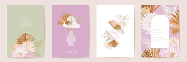 Karta kwiatowy wektor dzień matki. powitanie tropikalnych kwiatów, liści palmowych szablon projektu. akwarela pocztówka minimalny zestaw. rama sucha trawa pampasowa. wiosenny kwiat zapraszam typografię. kobieta nowoczesna broszura