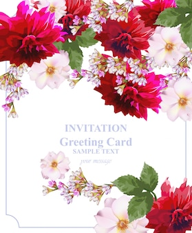 Karta kwiatowy wektor zaproszenie. kolorowe piękne kwiaty. kolory fuksji i czerwieni