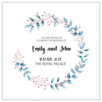 Karta kwiatowy wesele zaproszenie