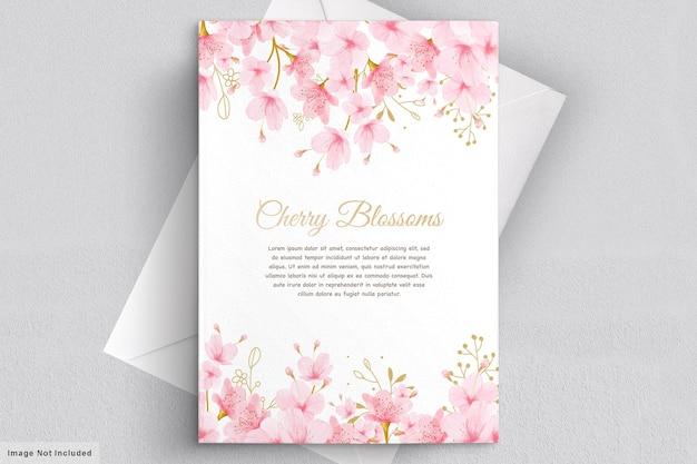 Karta kwiatowy zaproszenie akwarela kwiat wiśni