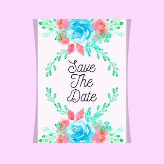 Karta kwiatowy zaproszenie na ślub akwarela