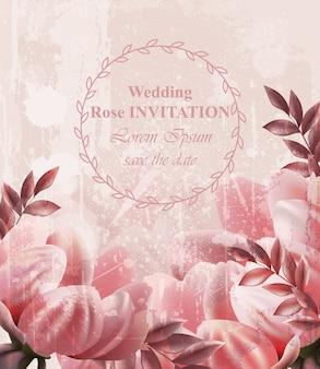 Karta kwiatowy zaproszenie na ślub rocznika