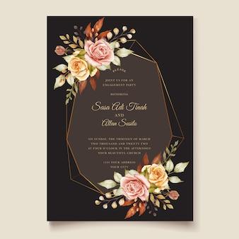 Karta kwiatowy zaproszenie na ślub