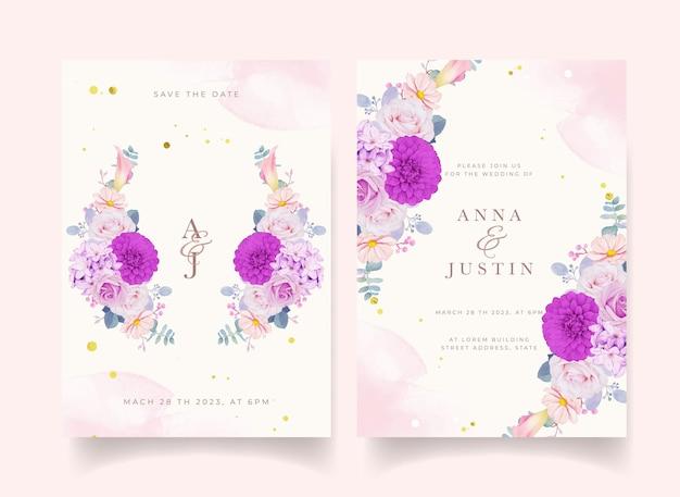 Karta kwiatowy zaproszenie