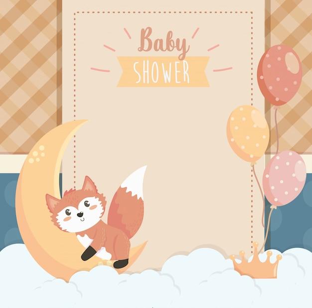 Karta ładny lis z księżycem i balonami