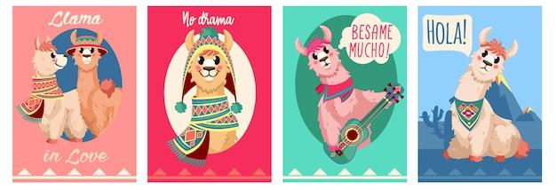 Karta lamy zabawny projekt alpaki z motywacyjnymi szablonami modnych cytatów