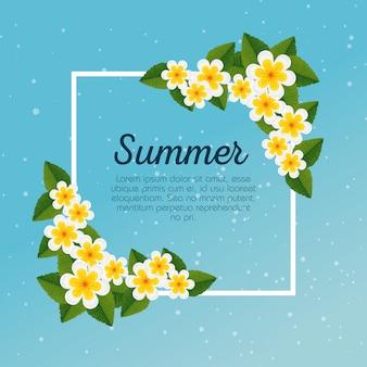 Karta letnia z egzotycznymi kwiatami i tropikalnymi liśćmi