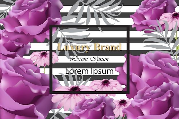 Karta luksusowej marki z realistycznymi kwiatami. abstrakcjonistyczni składu nowożytni projektów tła