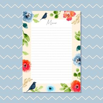 Karta memo z piękną granicy akwarela kwiatów i wzór chevron