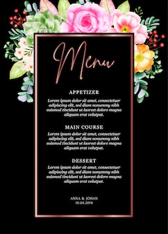 Karta menu kwiatów piękna ramka