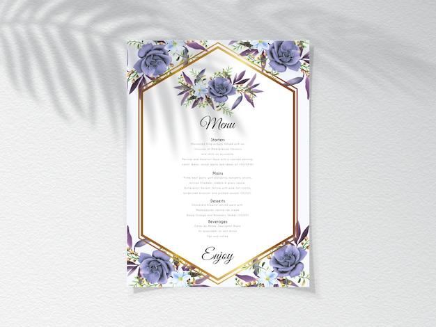 Karta menu z eleganckim wzorem królewskiej niebieskiej róży