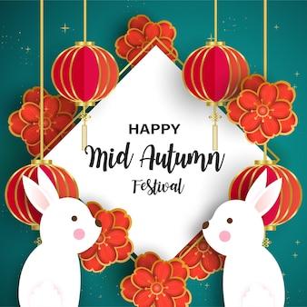 Karta mid autumn festival z uroczym królikiem