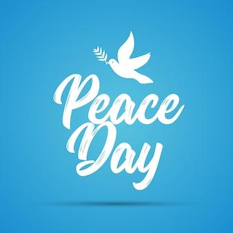 Karta międzynarodowego dnia pokoju. gołąb i gałązka oliwna nadzieję wakacje symbol wektor ilustracja wolności miłości wiary i pokoju.