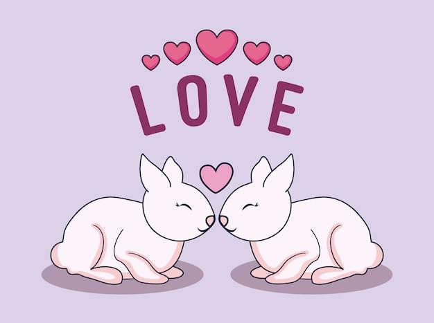 Karta miłości z parą królików