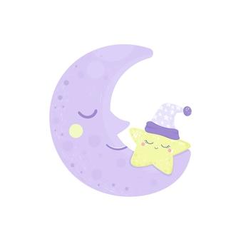 Karta na dobranoc ze śpiącym uśmiechniętym księżycem i gwiazdą.