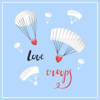 Karta na walentynki ilustracja wektorowa cytaty o miłości wojska miłości serca ze spadochronem