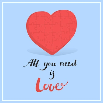Karta na walentynki ilustracja wektorowa wszystko czego potrzebujesz to miłość