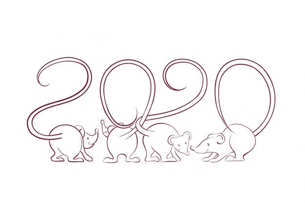 Karta noworoczna 2020 z sylwetkami myszy z ogonami, które przeplatają się w postaci izolowanych liczb