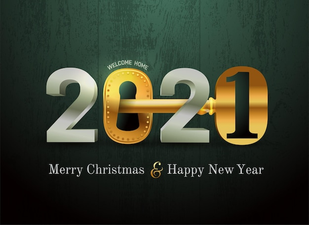 Karta noworoczna 2021 dla agencji nieruchomości. szczęśliwego nowego roku 2021 koncepcja z kluczem i zamkiem do drzwi. nieruchomość. ilustracji wektorowych. na białym tle na czarny tekstury drewna.