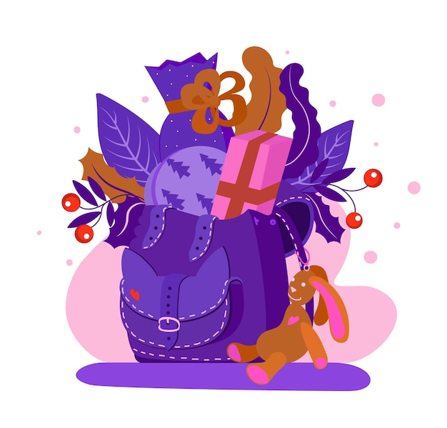 Karta noworoczna śliczny plecak z prezentami i zabawką królika płaski styl ilustracja wektorowa violet
