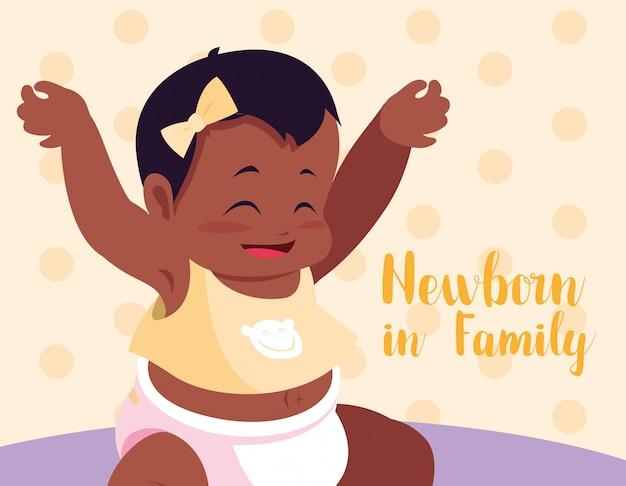 Karta noworodka w rodzinie z córeczką afro