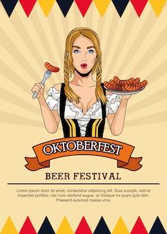 Karta obchodów oktoberfest z piękną kobietą jedzenie kiełbasy