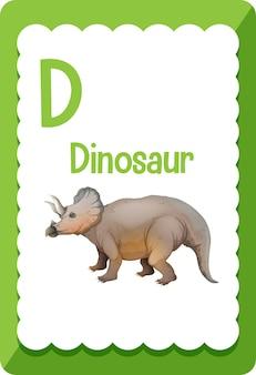 Karta obrazkowa z alfabetem i literą d dla dinozaura