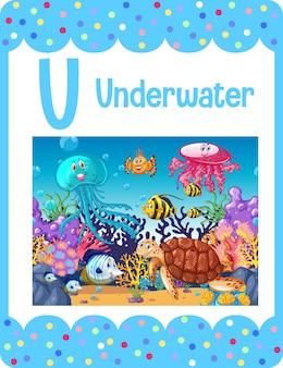 Karta obrazkowa z alfabetem i literą u jak pod wodą