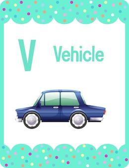 Karta obrazkowa z alfabetem i literą v oznaczającą pojazd